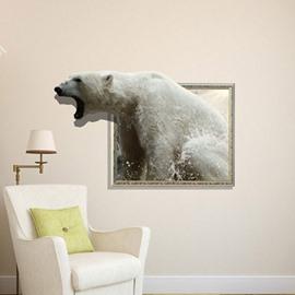 Stunning Creative 3D Roaring Bear Wall Sticker