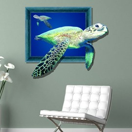 Amazing Creative 3D Sea PVC Waterproof Life-like Turtle Wall Sticker