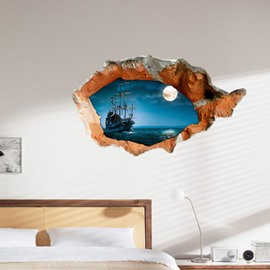 Amazing Scenery of Lake at Night 3D Wall Sticker
