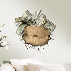 Gorgeous Creative 3D Monery in a Sack Design Wall Sticker