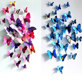 Butterflies with Pins 12-Piece 3D Cloth/Curtain/Wall Decorations Five Colors