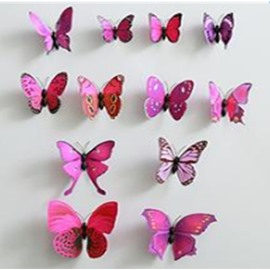 Butterflies with Pins 12-Piece 3D Cloth/Curtain/Wall Decorations