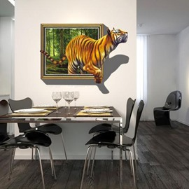 Vivid Decorative Walking Tiger Pattern Removable 3D Wall Sticker