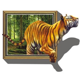 Vivid Decorative Walking Tiger Pattern Removable 3D Wall Sticker