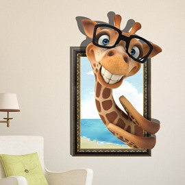 Lovely Cute Giraffe With Glasses Pattern Decorative 3D Wall Sticker