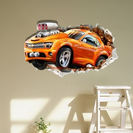 Amusing Creative Broken Racing Car Pattern 3D Wall Sticker