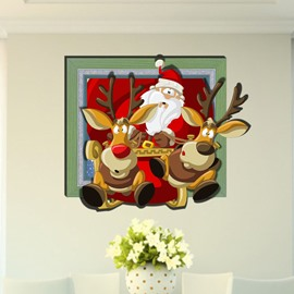 Top Quality Wonderful Santa Claus 3D Wall Sticker