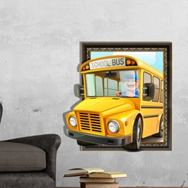 Best Quality Lovely School Bus 3D Wall Sticker