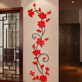 Elegant and Simple Beautiful Jasmine Flower Crystal Acrylic 3D Wall Stickers