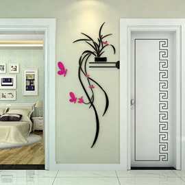 60 delicate stunning orchid and butterfly pattern 3d wall sticker