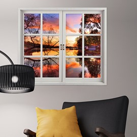 Beautiful Sunset in a Lake House Window View Removable 3D Wall Sticker
