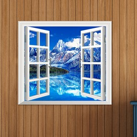 Marvelous Snow Mountains Window View Removable 3D Wall Sticker