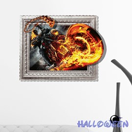 Halloween Theme The Death Riding on Flaming Motorcycle 3D Wall Sticker