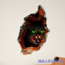 Halloween Evil-Looking Cat With Green Eyes in a Wall Hole 3D Wall Sticker