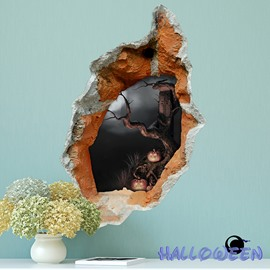 Halloween Dark Scary Forest Hole Peek 3D Wall Sticker