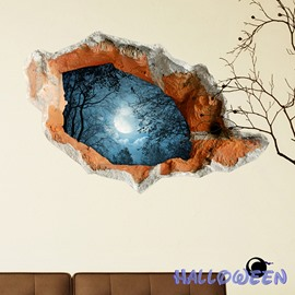 Halloween Full Moon Dark Forest 3D Wall Sticker