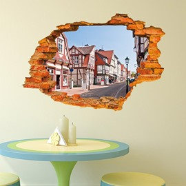 Creative Wall Hole View Town Street 3D Wall Sticker
