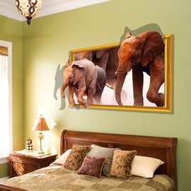 Amazing Elephants Through Wall PVC Waterproof Removable 3D Wall Sticker