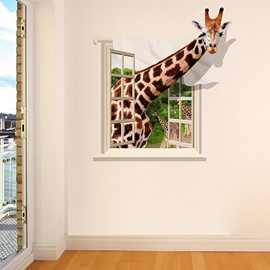 Giraffe Through Window Pattern 3D Waterproof Wall Sticker