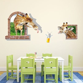 Two Giraffes Trying to Drink Juice 3D Wall Stickers