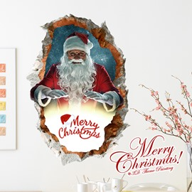 Festival Santa Claus in Costumes Removable 3D Wall Sticker
