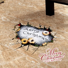 Festival Merry Christmas Written in Donuts Icing Removable 3D Wall Sticker