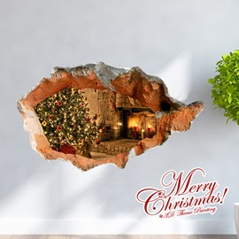 Festival Christmas Room Decoration Fireplace and Christmas Tree Removable 3D Wall Sticker