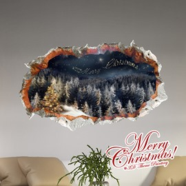 Festival Christmas Pine Tree Woods in Starry Night Removable 3D Wall Sticker