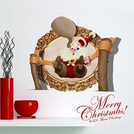Cartoon Santa Claus on Slingshot Removable 3D Wall Sticker