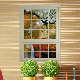 Natural Window View Autumn Forest Removable 3D Wall Stickers
