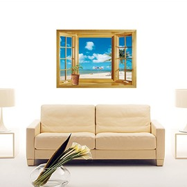 76 Wonderful Window View Beach And Blue Sky Removable Wall Sticker