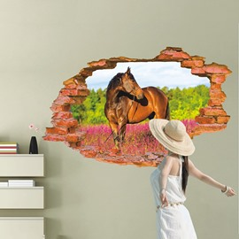 Horse Standing in Field and Hole 3D Wall Stickers