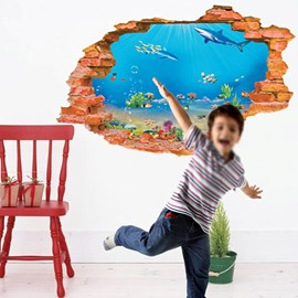 Wonderful Wall Hole View Sea World Removable 3D Wall Stickers