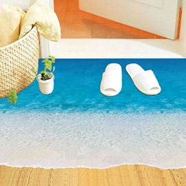 Natural Style Blue Beach and Waves 3D Waterproof Floor Sticker