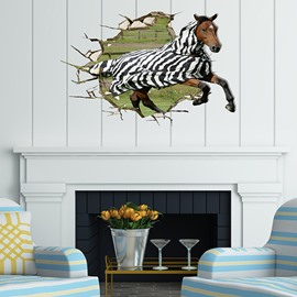 Wonderful Horse in a Stripe Cape Running Through Wall Removable 3D Wall Sticker