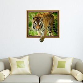 Amazing Vivid Tiger Through Framed Picture Removable 3D Wall Sticker