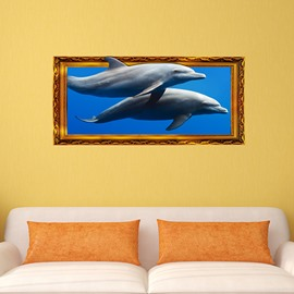 Fantastic Dolphins Swimming in the Sea Framed Removable 3D Wall Sticker