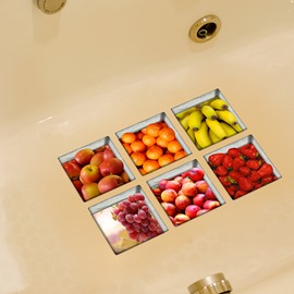 New Arrival Fruit Pattern 3D Bathtub Stickers for Room Decoration