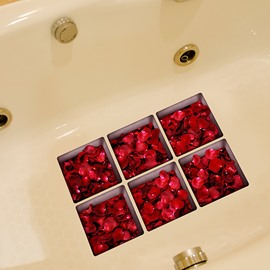 Hot Sale Red Rose Petal 3D Bathtub Stickers For Bathroom Decoration