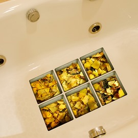 New Arrival Yellow Fallen Leaves Pattern 3D Bathtub Stickers