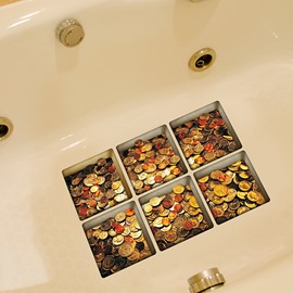 New Arrival Coin Pattern 3D Bathtub Stickers