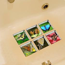 Hot Sale Beautiful Butterfly 3D Bathtub Stickers