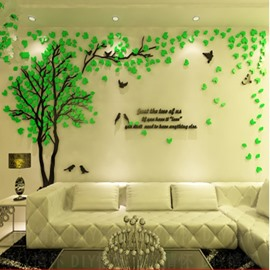 Beautiful and Elegant Acrylic Countryside Style Tree and Birds 3D Wall Stickers