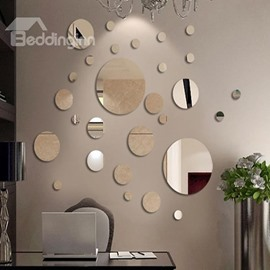 Silver Mirror Circles Polypropylene 3D Waterproof Wall Sticker