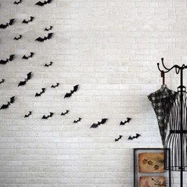 Black Halloween Decoration 12 Pieces Bat Shape 3D Wall Stickers