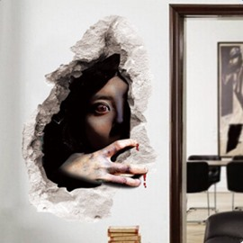 Halloween Decorative Bloodshot Eyes Female Ghost Pattern 3D Wall Stickers