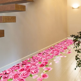 39×23in Pink Roses and Green Leaves 3D PVC Romantic Floor/Wall Stickers