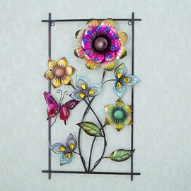 Rectangle Iron Beautiful Flower Pattern 3D Wall Stickers