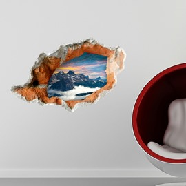 Unique Design Sunset Mountain Scenery Through a Broken Hole 3D Wall Stickers