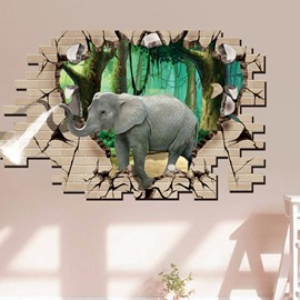 Decorative Elephant Pattern Forest Scenery Heart Shaped 3D Wall Stickers